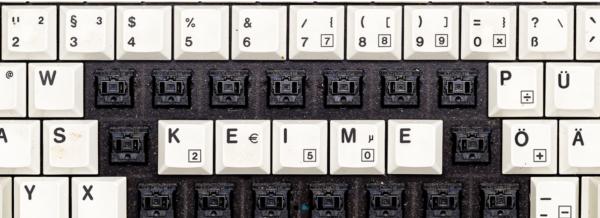 Keime auf einer Tastatur   Krankenhaus Tastatur
